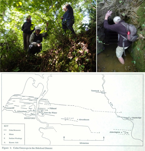 BB 5 artists, hawkridge woods; me looking in the mine adit (griz luttman-johnson 2013); map of BB seams (courtesy f vowler)