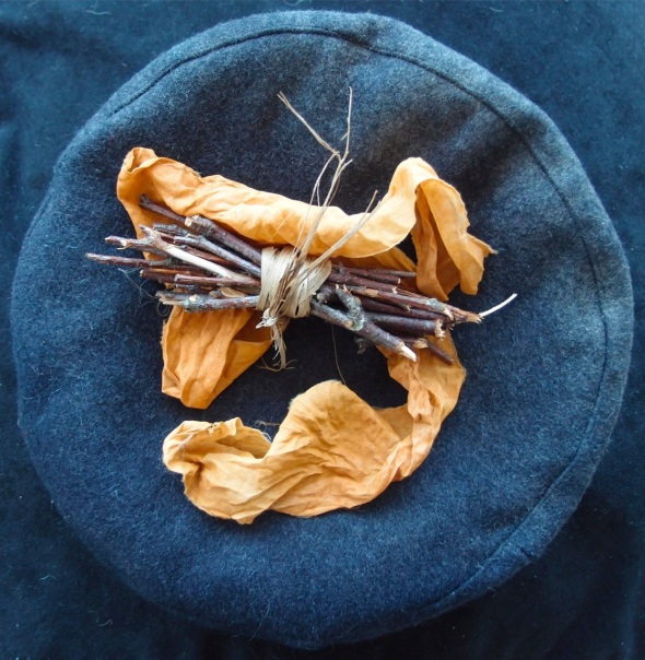 memorial offering for a friend (birch bundle and earth rust dyed silk; p ward and f owen 2013)