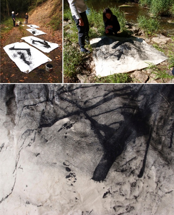shard prints (m chesterman:p ward 2013); BB puddle on river soaked canvas square (s plummer:g luttman-johnson:j westcott 2013)