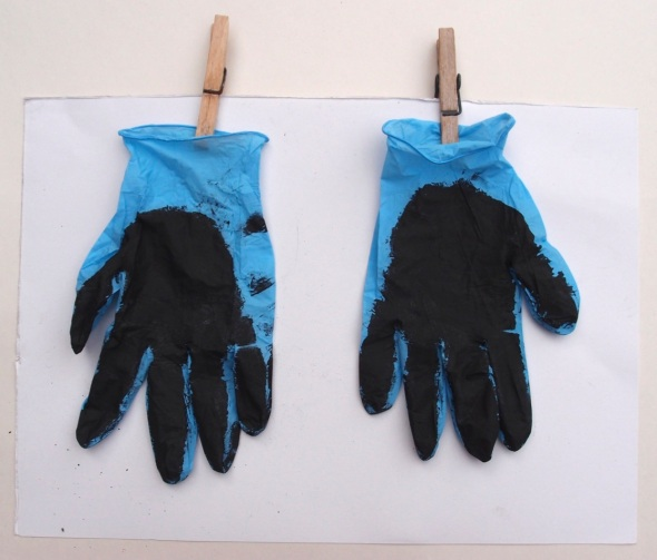 'purity' (bideford black on blue latex gloves, p ward 2013)