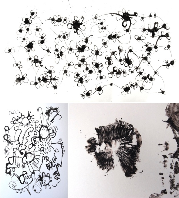mycelium; ink-cap doodle; ink-cap print 2 (ink-cap-ink and gum Arabic © p ward 2013)