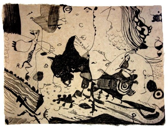 cat-and-mouse-earth-pigments-pva-on-laos-handmade-paper-80x60cm-p-ward--2009