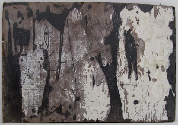 clifftop-drama-pencil-on-driftwood-52x36cm-p-ward-2009