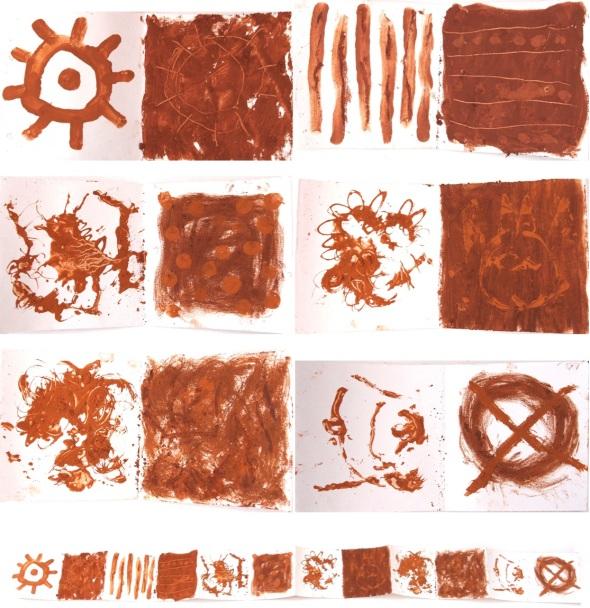concertina sketchbook drawing, pigments form yarner wood, east dartmoor (p ward 2013)