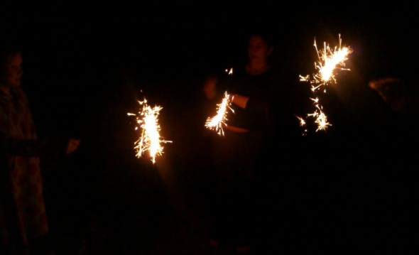 playing with fire, sparklers in the garden, wells (p ward 2013)
