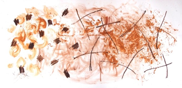 sketch with pigments from yarner wood and fremington quay (p ward 2013)