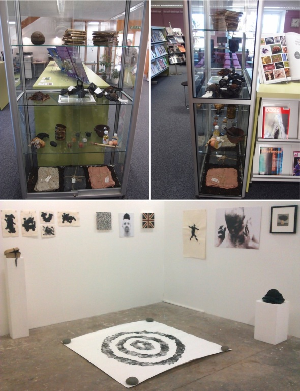 woodlane campus library display (with francesca owen) and work in group show, falmouth (p ward 2014)