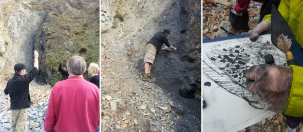 drawing the seam; mini-mining; sketching at the source (photos © j bushel 2014)