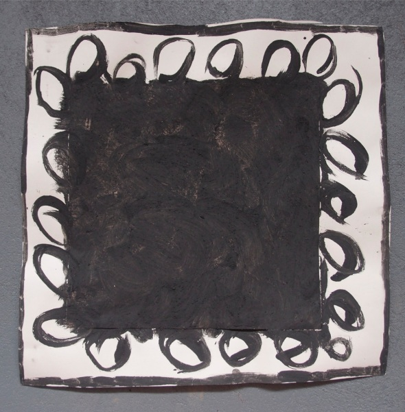 personal exploration 2, bideford black and pva on paper (© p ward 2014)