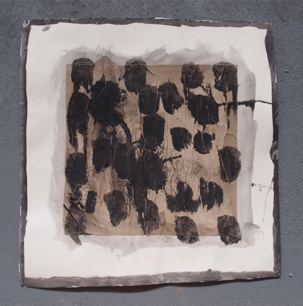 personal exploration 3, bideford black and pva on paper (© p ward 2014)
