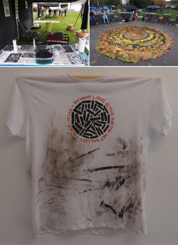 ART IN THE PARK – bideford black monoprints, jo bushel and jenni dodd;  leaf mandala, andy white; festival t-shirt © p ward 2014