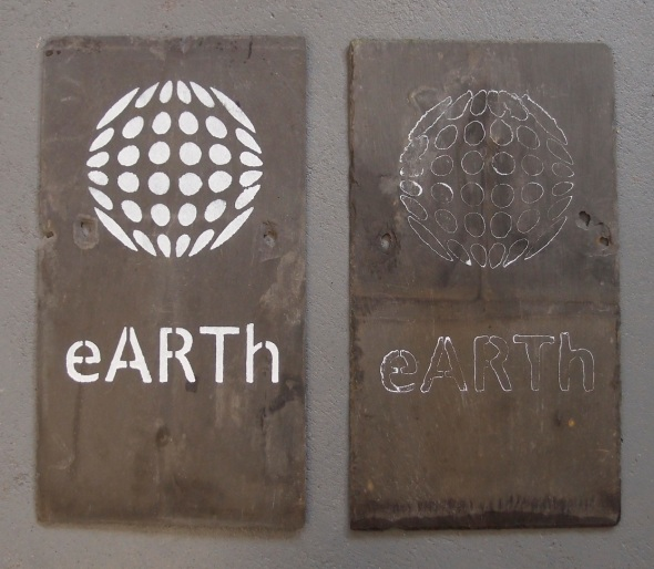 eARTh logo, gesso on slate © p ward 2014