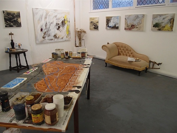 eARTh studio view, including paintings by francesca owen and pigment table © p ward 2014