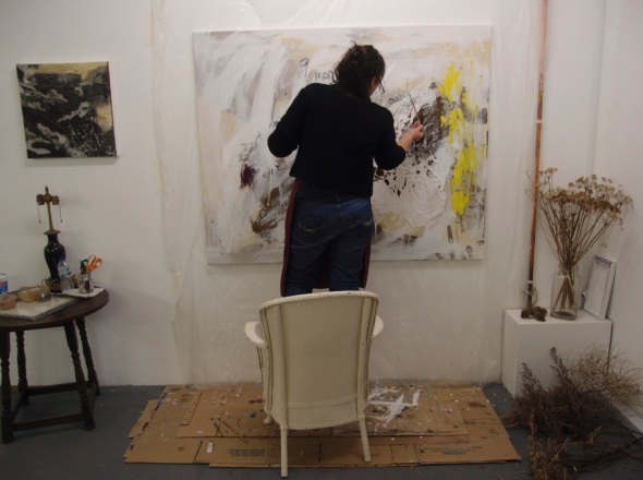 francesca working on 9 months, inside and out, oil and earth on canvas © p ward 2014