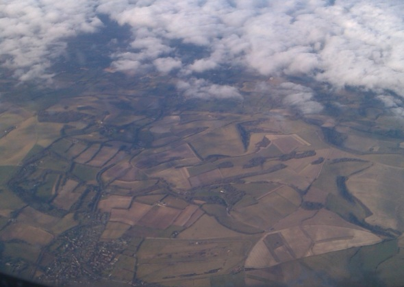 home again, the south downs from the plane © p ward 2015