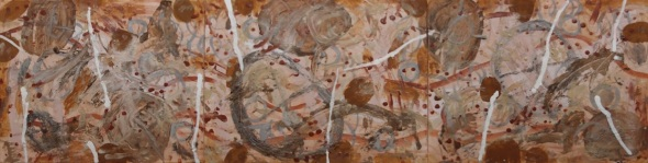 crow point triptych (3x60x50cm; earth pigments with gum arabic and rabbit skin glue on canvas) © f owen & p ward 2015