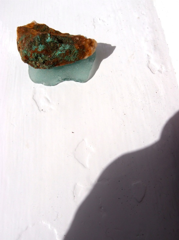 malachite and sea glass, Port Erin © p ward 2015