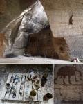 en passant par, cave installation (detail), objets trouvé and earth pigments, GNAP France 2 © peter ward2017