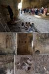 en passant par, cave installation (detail), objets trouvé and earth pigments, GNAP France © peter ward2017