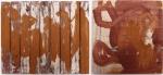 danza:tanzen:Danse:dance, earth pigments on reclaimed wood © p ward 2017; a fischiare:Pfeifen:siffler:to whistle, earth pigments on board © p ward2017