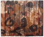 un nuovo modo di parlare:eine neue Art zu sprechen:une nouvelle façon de parler:a new way to speak, earth pigments on reclaimed wood © p ward2017
