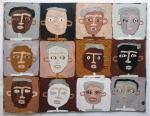 earth heads I (Cornish earth pigments on repurposed card; 37x28cm) © p ward2019