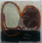 head 2 (Cornish earth pigment egg tempera on paper; 28x28cm) © p ward2019