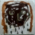head I (Cornish earth pigment egg tempera on paper; 28x28cm) © p ward2019